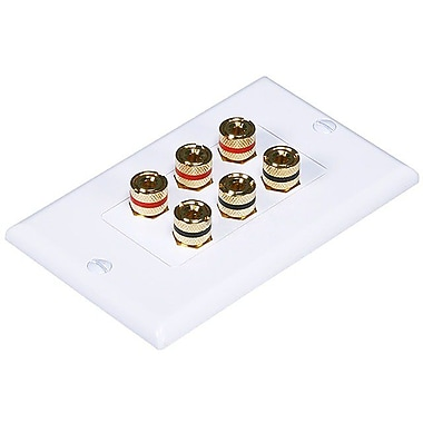Monoprice® High Quality Banana Binding Post Two-Piece Inset Wall Plate For 3 Speaker, White