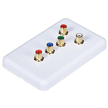 Monoprice® 5 RCA Component Wall Plate, White