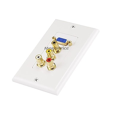 Monoprice® VGA HD15/3 RCA Composite/3.5mm Wall Plate