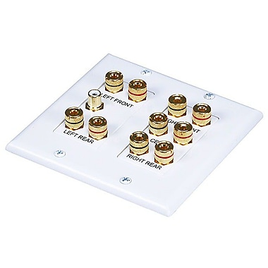 Monoprice® 104012 2-Gang 5.1 Surround Sound Distribution Wall Plate, White