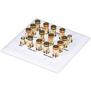 Monoprice® 106707 2-Gang 7.2 Surround Sound Distribution Wall Plate, White