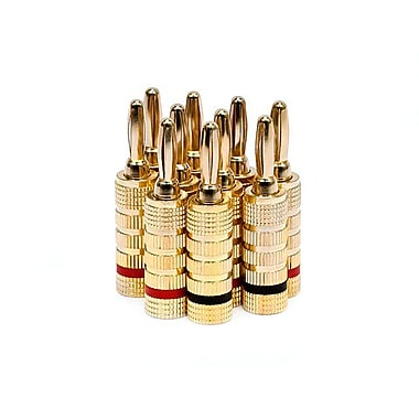 Monoprice® High-Quality Closed Screw Gold Plated Speaker Banana Plug, 5 Pair