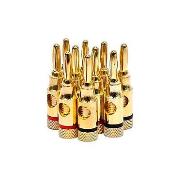 Monoprice® High-Quality Open Screw Gold Plated Speaker Banana Plug. 5 Pair