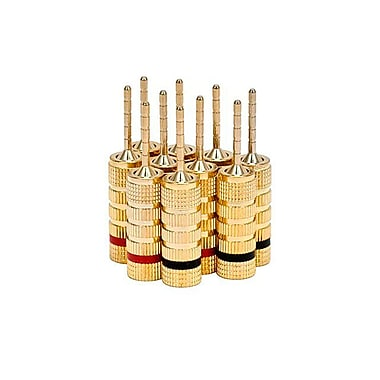 Monoprice® High-Quality Pin Screw Type Gold Plated Speaker Pin Plug, 5 Pairs