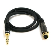 Monoprice® Premier Series 3' 16AWG XLR Female to 1/4 TRS Male Audio Cable, Black