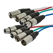 Monoprice® 3' 26AWG 4 Channel XLR Male to Female Snake Cable W/2 Upstream & 2 Downstream, Assorted