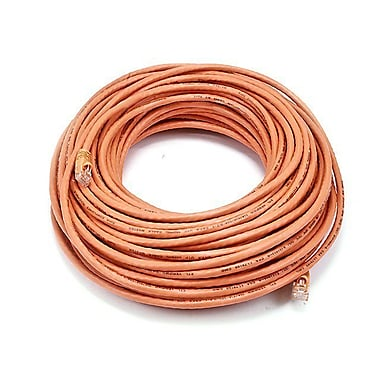 Monoprice® 100' 24AWG Cat5e UTP LC Male to Male Ethernet Network Cable, Orange