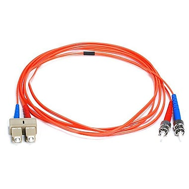 Monoprice® 2 m OM1 ST to SC Fiber Optic Cable, Orange