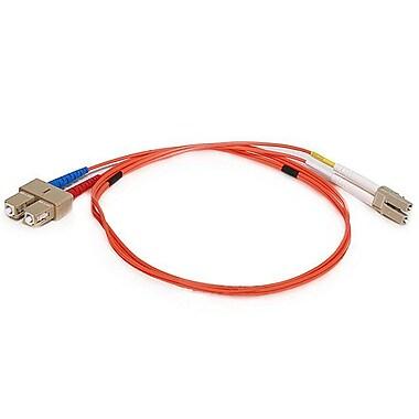 Monoprice® 1 m OM1 LC to SC Fiber Optic Cable, Orange