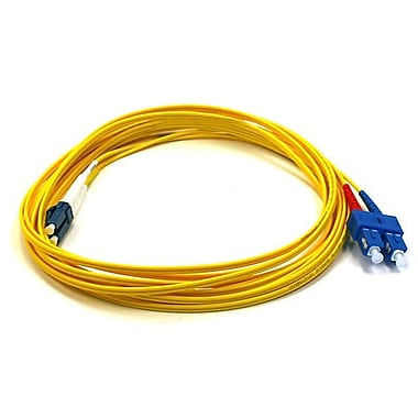 Monoprice® 5 m LC to SC Single Mode Duplex Fiber Optic Cable, Yellow