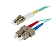 Monoprice® 2 m OM3 LC to SC Fiber Optic Cable, Aqua