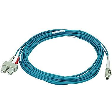 Monoprice® 5 m OM3 LC to SC Fiber Optic Cable, Aqua