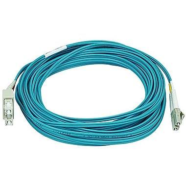 Monoprice® 10 m OM3 LC to SC Fiber Optic Cable, Aqua