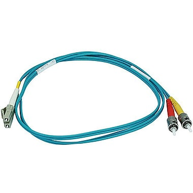 Monoprice® 1 m OM3 LC to ST Fiber Optic Cable, Aqua