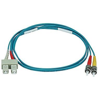 Monoprice® 1 m OM3 ST to SC Fiber Optic Cable, Aqua