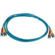 Monoprice® 2 m OM3 ST to ST Fiber Optic Cable, Aqua