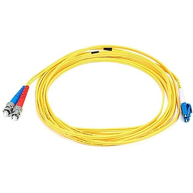 Monoprice® 5 m LC to ST Single Mode Duplex Fiber Optic Cable, Yellow