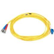 Monoprice® 5 m LC to ST Single Mode Duplex Fiber Optic Cable, Yellow