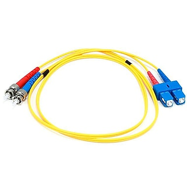 Monoprice® 1 m SC to ST Single Mode Duplex Fiber Optic Cable, Yellow