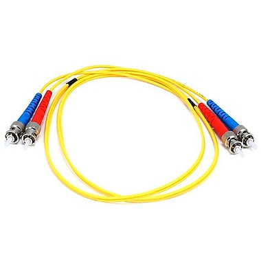 Monoprice® 1 m ST to ST Single Mode Duplex Fiber Optic Cable, Yellow
