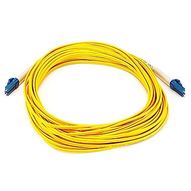 Monoprice® 10 m LC to LC Single Mode Duplex Fiber Optic Cable, Yellow