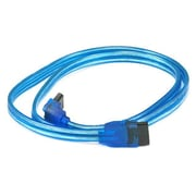 Monoprice® 2' 90 Deg to 180 Deg SATA Cable With Locking Latch, UV Blue