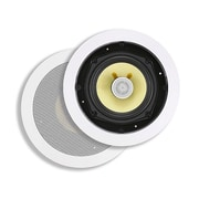 "Monoprice® 100W 5.25"" Kevlar 2 Way In-Ceiling Speaker, White"