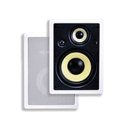 "Monoprice® 200W 8"" Kevlar 3 Way High Power In-Wall Speaker, White"