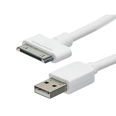 Monoprice® 10' SlimFit Male 30 Pin Proprietary to USB 2.0 Sync Cable For iPad/iPhone/iPod, White
