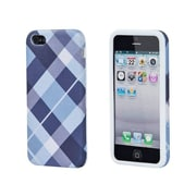 Monoprice® Textile Silicone Case For iPhone 5/5s, Blue Plaid