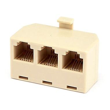 Monoprice® 1M/3F 6P4C T Adapter, White