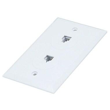 Monoprice® 6P4C Flush Type Double Wall Plate Jack, White