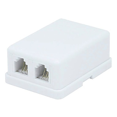 Monoprice® Compact Style 2 Port 6P6C Surface Mount, White