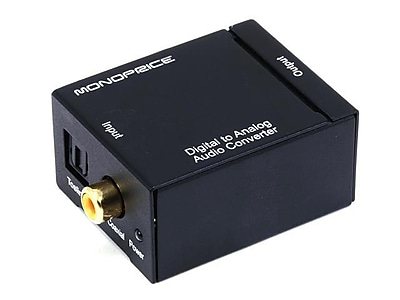 Monoprice Digital Coaxial and Optical Toslink to Stereo Audio Converter, Black