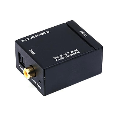 Monoprice® Digital Coaxial and Optical Toslink to Stereo Audio Converter, Black