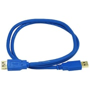 Monoprice® 3' Gold Plated USB 3.0 A Male to A Female Extension 28/24AWG Cable, Blue