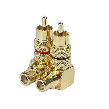 Monoprice® Right Angle RCA Adapter, Gold