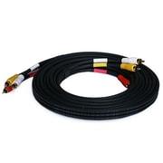 Monoprice® 15' Triple RCA Stereo Video Dubbing Composite Cable, Black