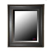 Rayne Mirrors Black with Silver Cage Trim Wall Mirror; 38.25'' H x 32.25'' W x 2'' D