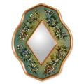 Novica The Gelacio Giron Reverse Painted Glass Mirror; Green