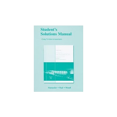 Student Solutions Manual for Intro. Math Analysis for Business, Economics & the Life & Social Sciences, New (9780321645302)