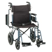 """Nova Medical Products Aluminum Transport Chair with 12 inch Rear Wheels 19"""", Blue"""