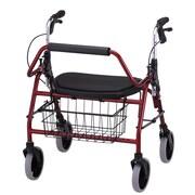 "Nova Medical Products Heavy Duty Rolling Walker 27.5"" x 25.5"", Red"