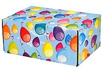 06.2'(L)X 3.7'(W)X9.5'(H) GPP Gift Shipping Box, Classic Line, Colorful Balloons, 48/Pack