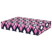 "12.2""(L)x 3""(W)x17.8""(H) GPP Gift Shipping Box, Classic Line, Pink/Navy Argyle, 6/Pack"