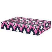 GPP Gift Shipping Box, Classic Line, Pink/Navy Argyle