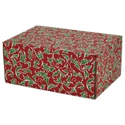 06.2(L)X 3.7(W)X9.5(H) GPP Gift Shipping Box, Holiday Line, Christmas Holly, 6/Pack