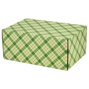 08.8(L)X 5.5(W)X12.2(H) GPP Gift Shipping Box, Holiday Line, Green Plaid, 12/Pack