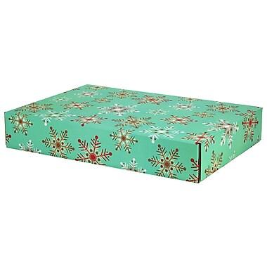GPP Gift Shipping Box, Holiday Line, Teal Snowflakes