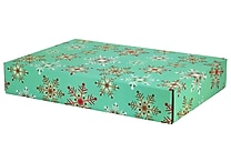 GPP Gift Shipping Box, Holiday Line, Teal Snowflakes